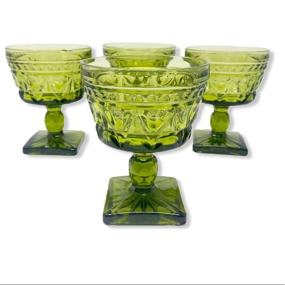 Drink ware Glasses Goblets Vintage Green Dining 4